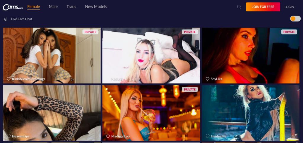 Page d'accueil Cams.com